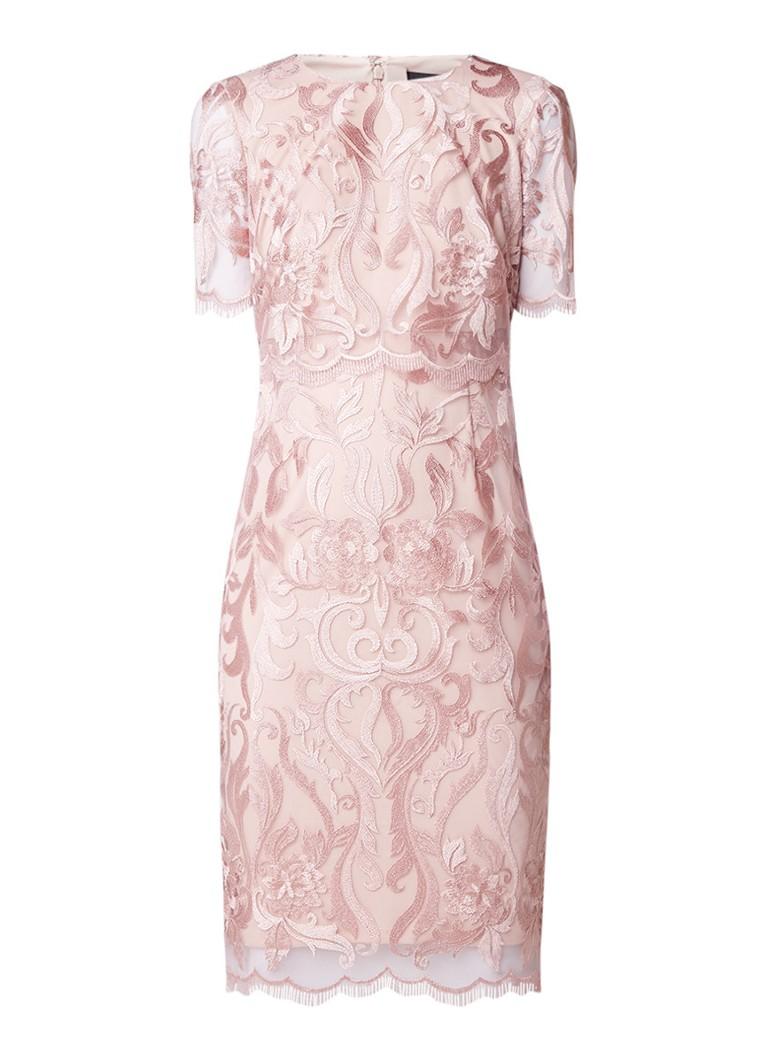 Phase Eight Aida midi-jurk met mesh en bloemborduring oudroze
