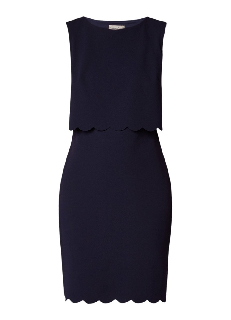 Phase Eight Saffron jurk van crêpe met geschulpte zoom donkerblauw