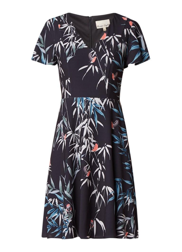 Phase Eight Vienna Jay Bird A-lijn jurk met bladdessin donkerblauw