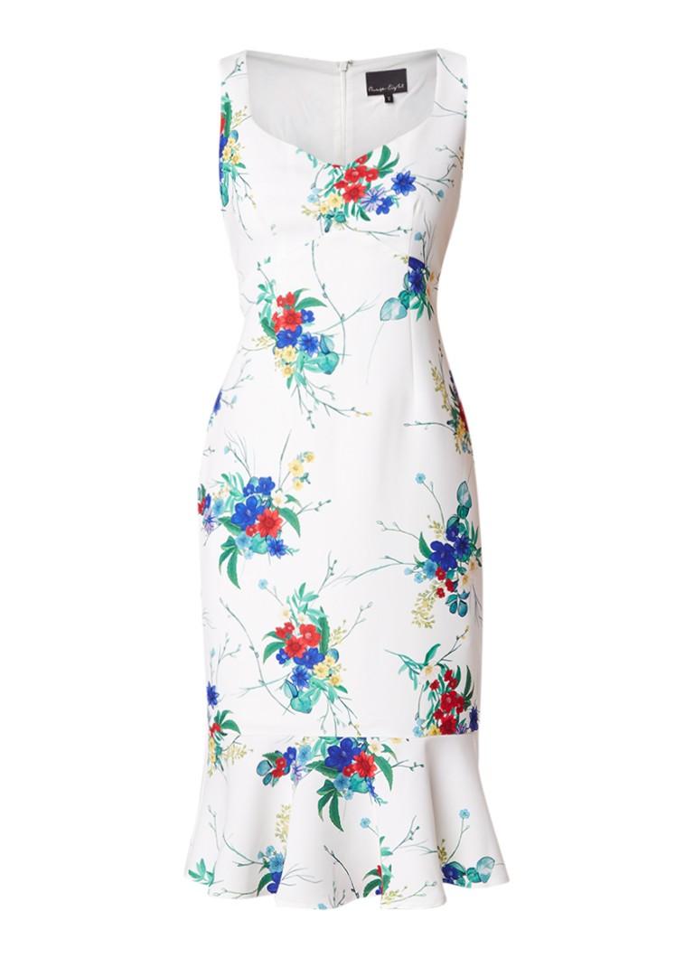 Phase Eight Bethania midi-jurk met bloemendessin en volant ivoor