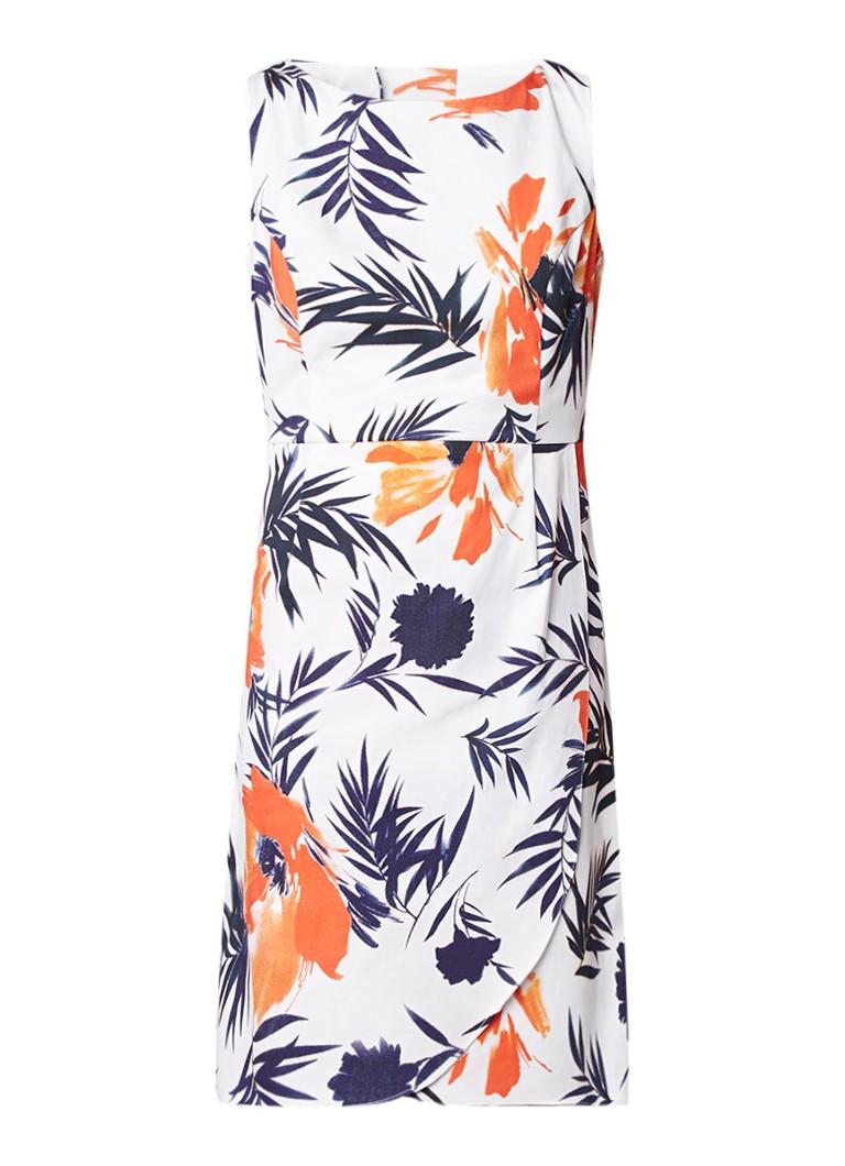 Phase Eight Juana midi-jurk met bladdessin en overslag wit
