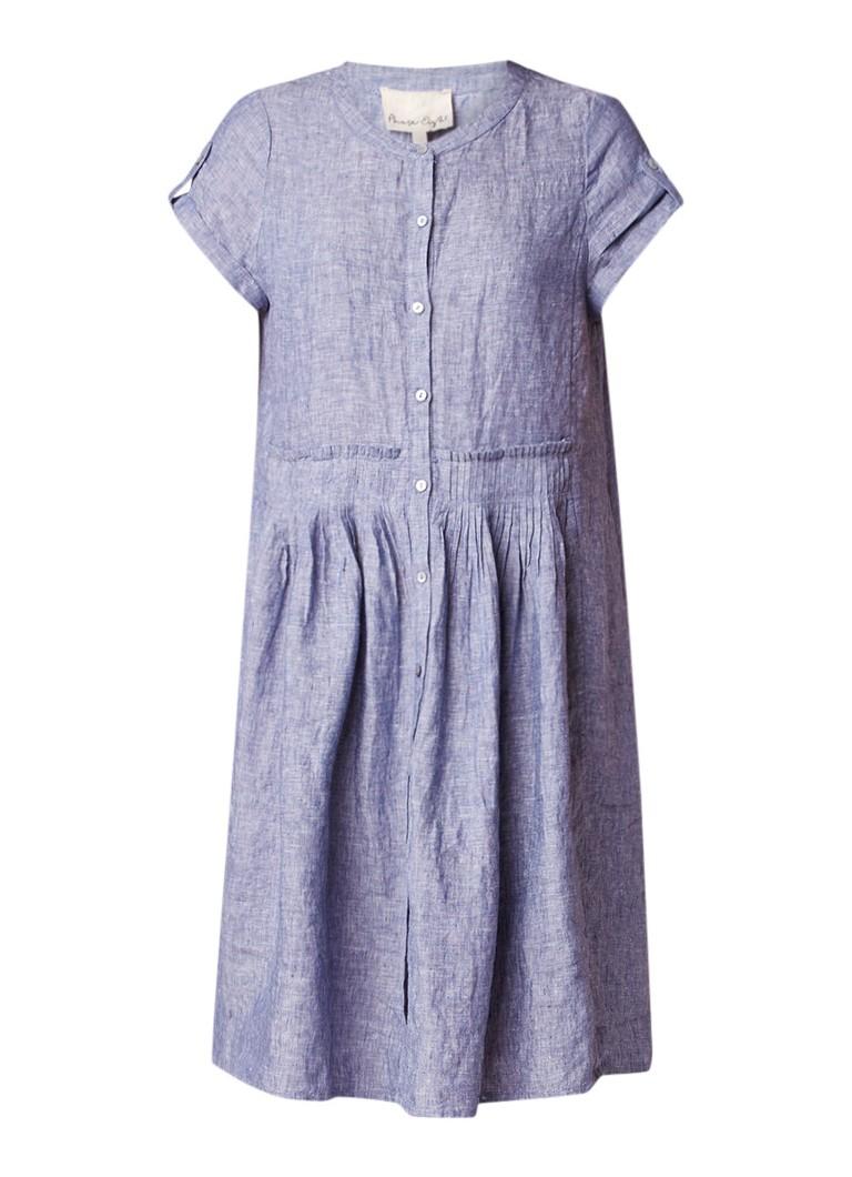 Phase Eight Samara A-lijn jurk van linnen met geplooid detail staalblauw