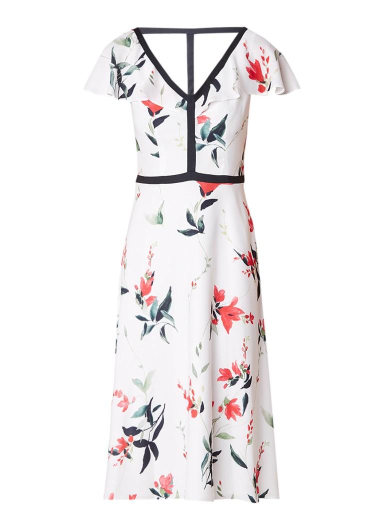 Phase Eight Caylana A-lijn jurk met bloemendessin en volant ivoor