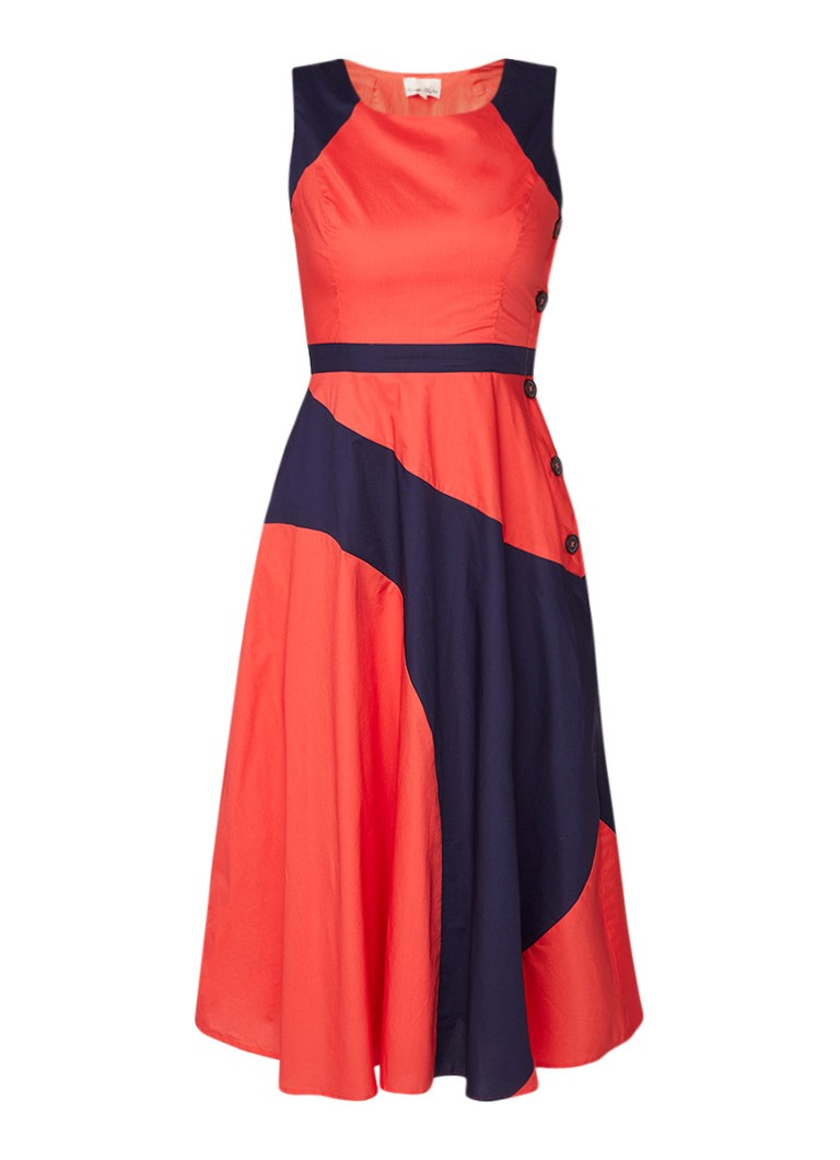 Phase Eight Chelle A-lijn jurk van katoen met colour blocking rood