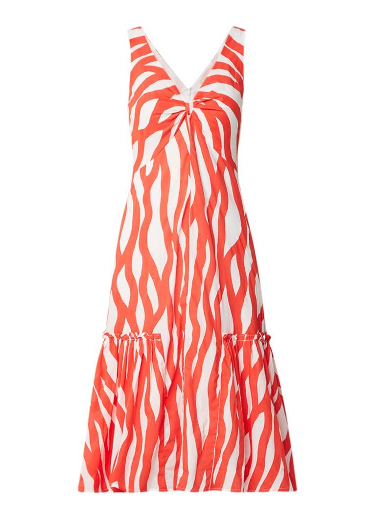 Phase Eight Winona Wave mouwloze midi-jurk met dessin oranjerood