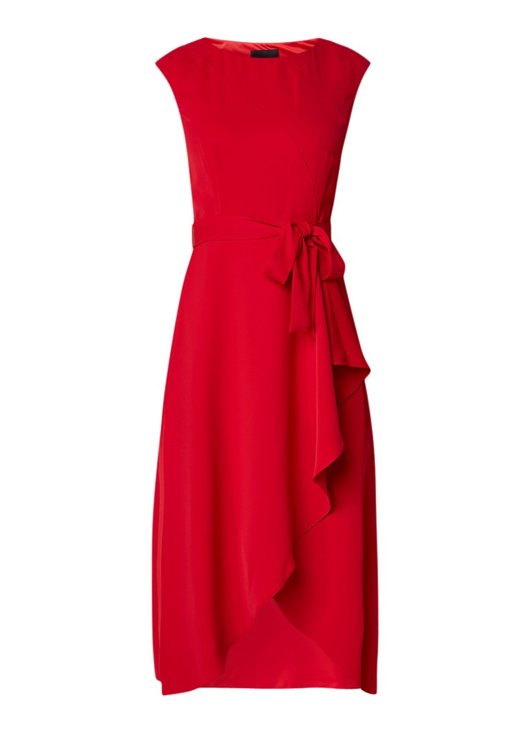 Phase Eight Rushelle midi-jurk met strikceintuur en volant rood