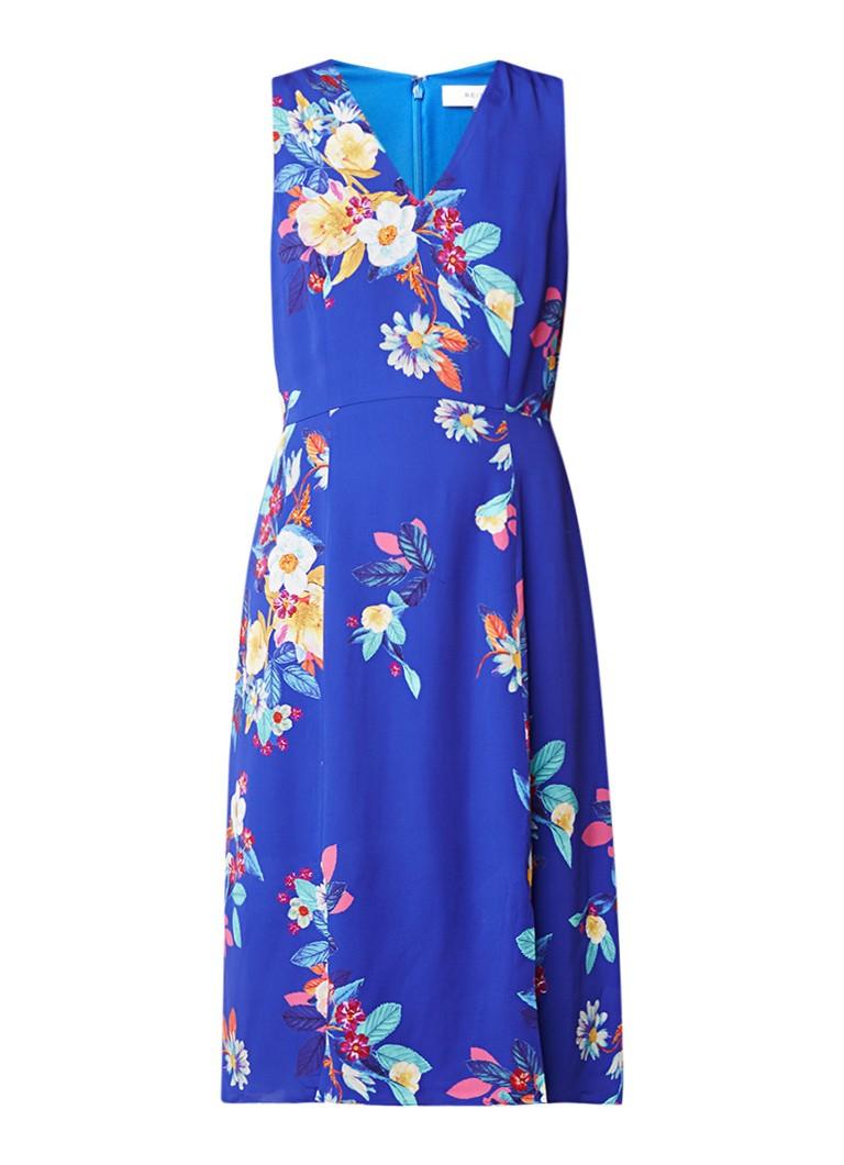 Phase Eight Bellissa midi-jurk met bloemendessin royalblauw
