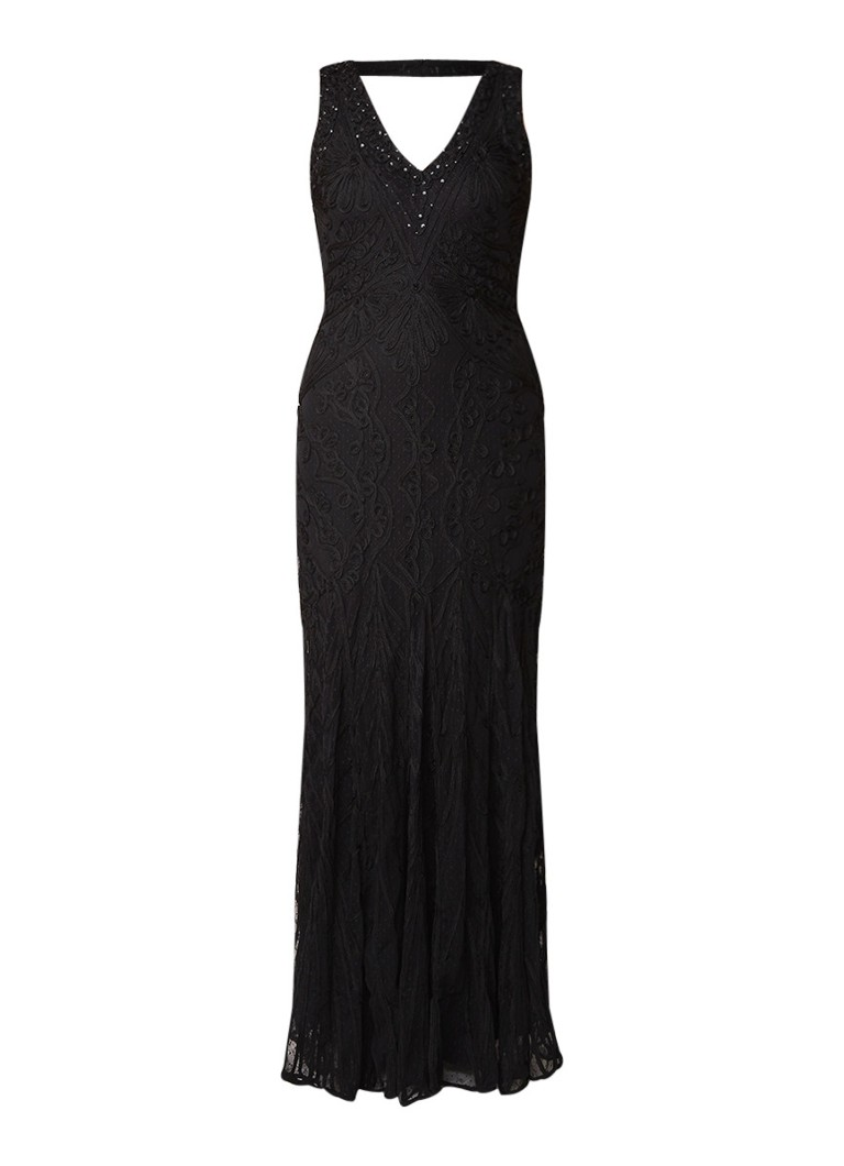 Phase Eight Camila maxi-jurk van kant met jacquard dessin zwart
