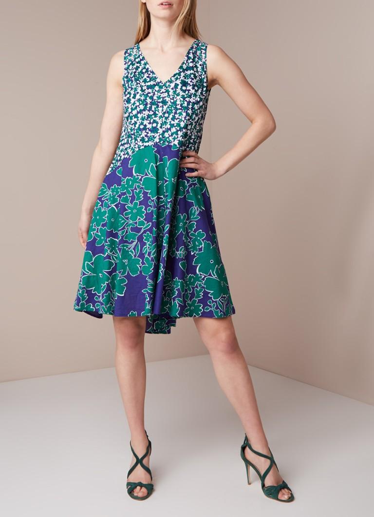 Phase Eight A-lijn jurk met bloemendessin en keyhole zeegroen