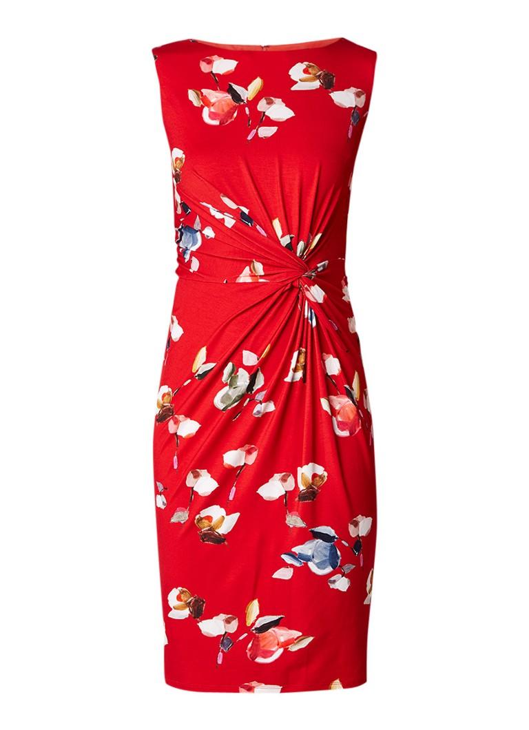 Phase Eight Berdina gebloemde midi-jurk met knoopdetail rood