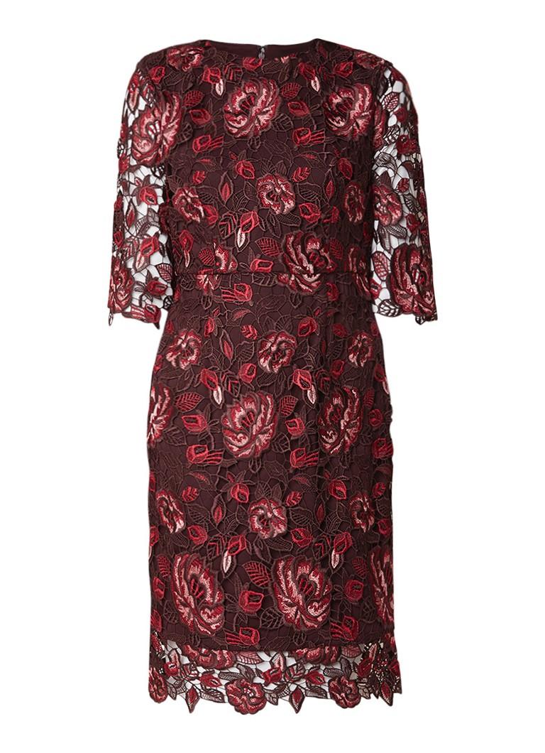 Phase Eight Belle midi-jurk van gebloemd guipure kant mahoniebruin
