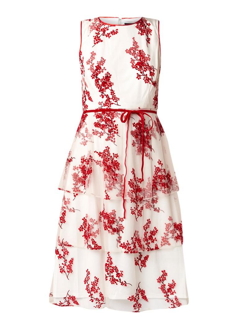 Phase Eight Francine midi-jurk met bloemendessin van velours wit