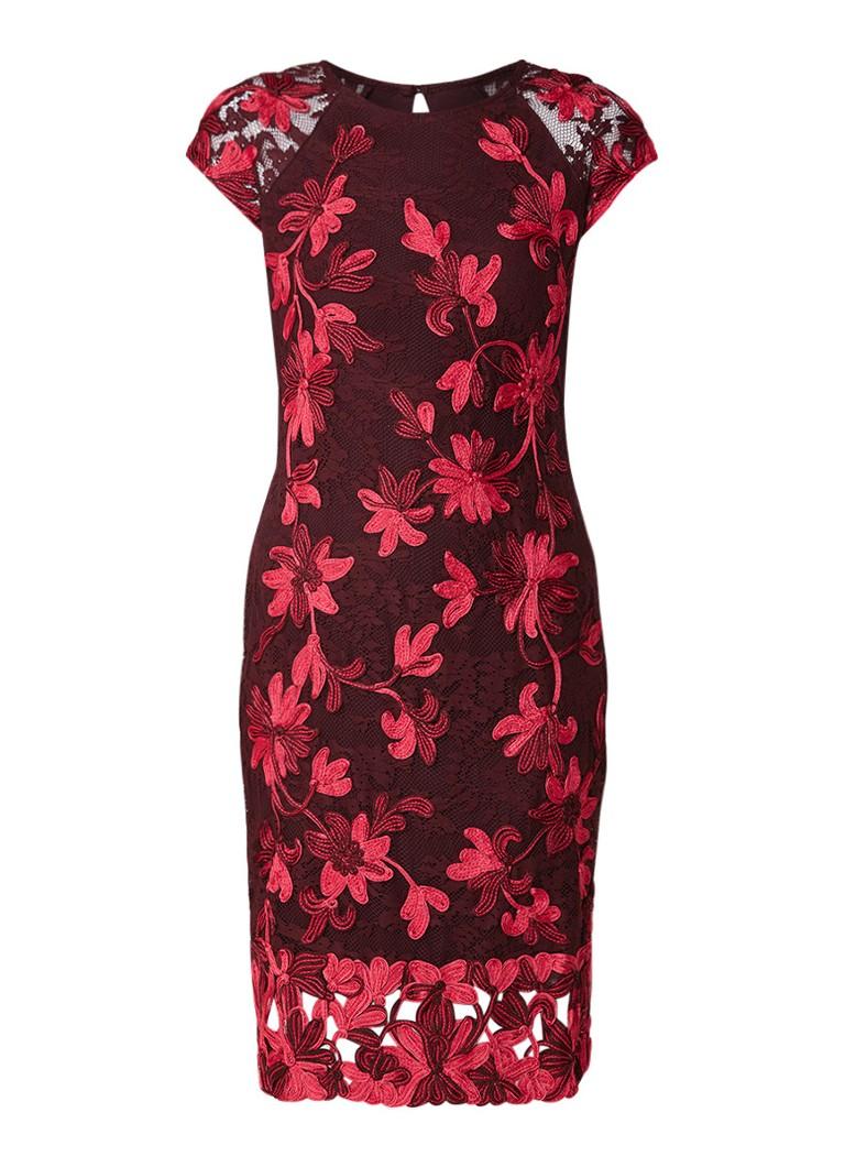 Phase Eight Chrissy midi-jurk van kant met bloemenborduring donkerroze