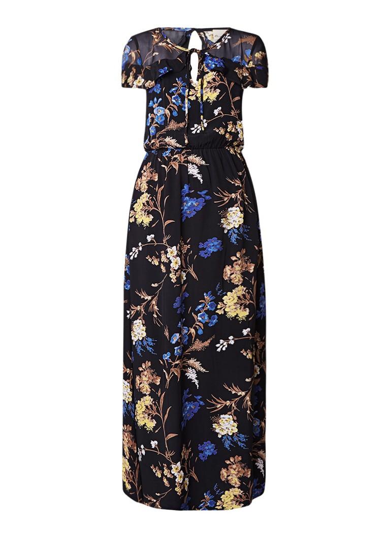 Phase Eight Manoela maxi-jurk met bloemendessin en volant zwart