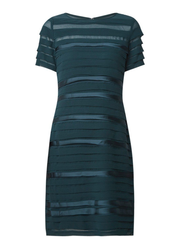 Phase Eight Gigi gelaagde midi-jurk met satijn donkergroen