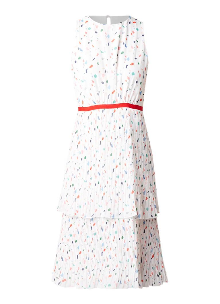 Phase Eight Florence gelaagde jurk met print en plissé ivoor