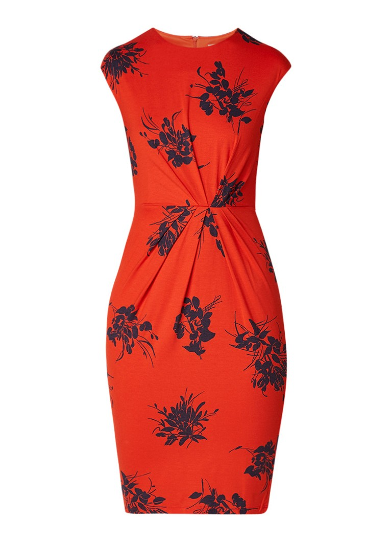 Phase Eight Rafaelo jurk met plooien en dessin oranjerood