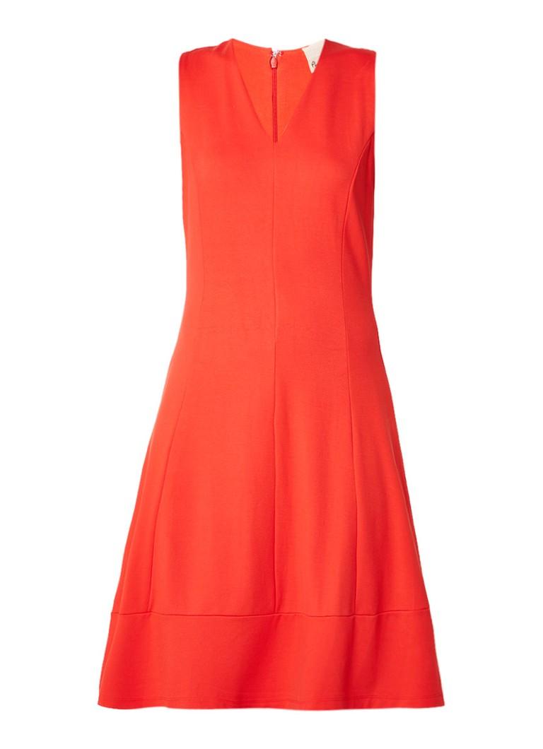 Phase Eight Panya midi-jurk met V-hals oranjerood