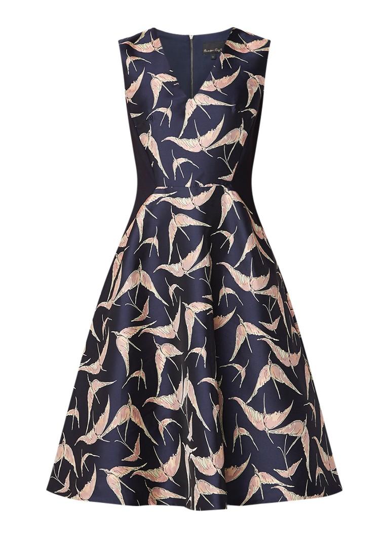 Phase Eight Delaphine mouwloze A-lijn midi-jurk met vogeldessin donkerblauw