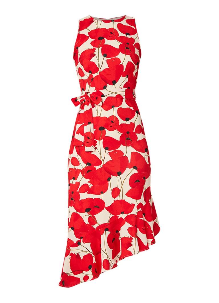 Phase Eight Dorothy asymmetrische jurk met klaprozendessin rood