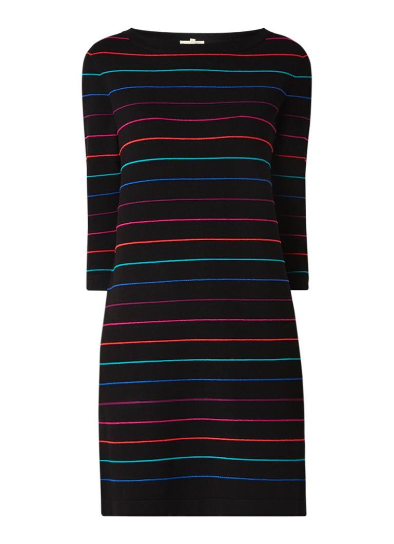 Phase Eight Sophia fijngebreide midi-jurk met streepdessin zwart