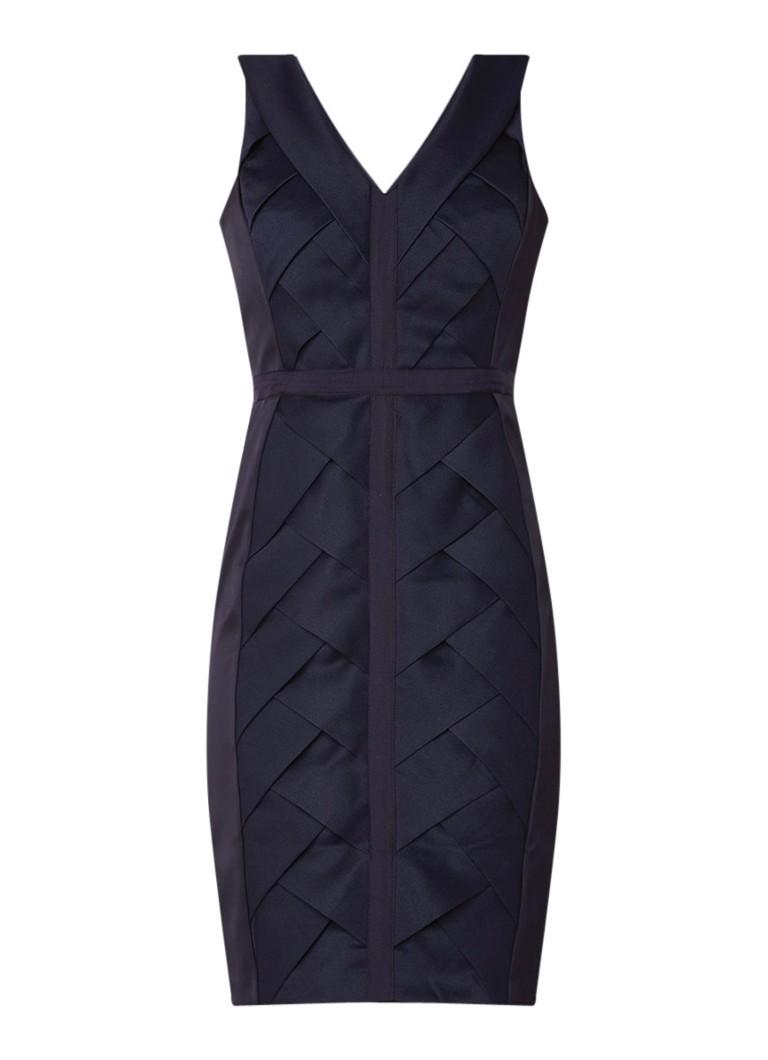 Phase Eight Carley midi-jurk met gevlochten voorpand donkerblauw
