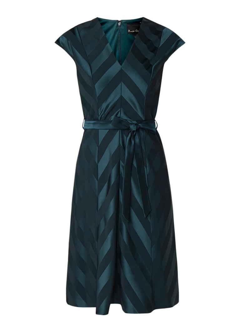 Phase Eight Evelyn A-lijn jurk met streepdessin donkergroen