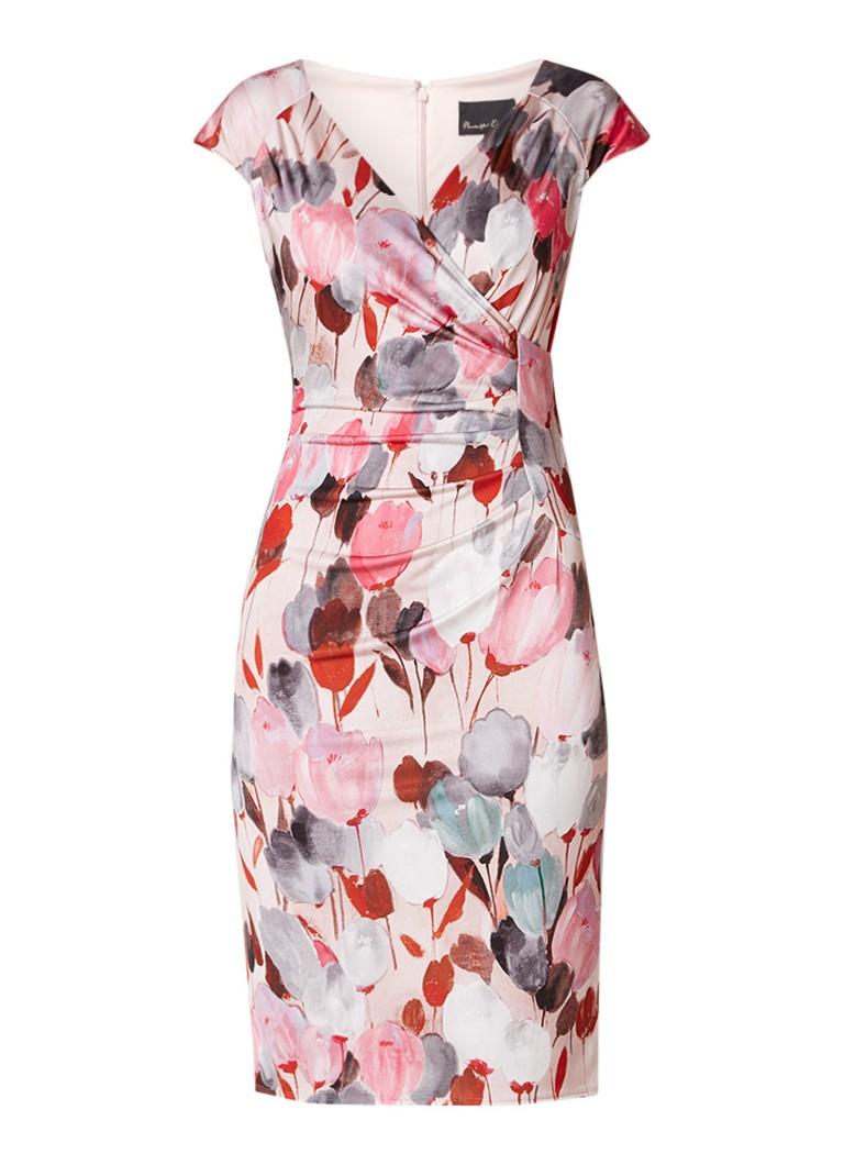 Phase Eight Lucilla midi-jurk met overslag en bloemendessin roze