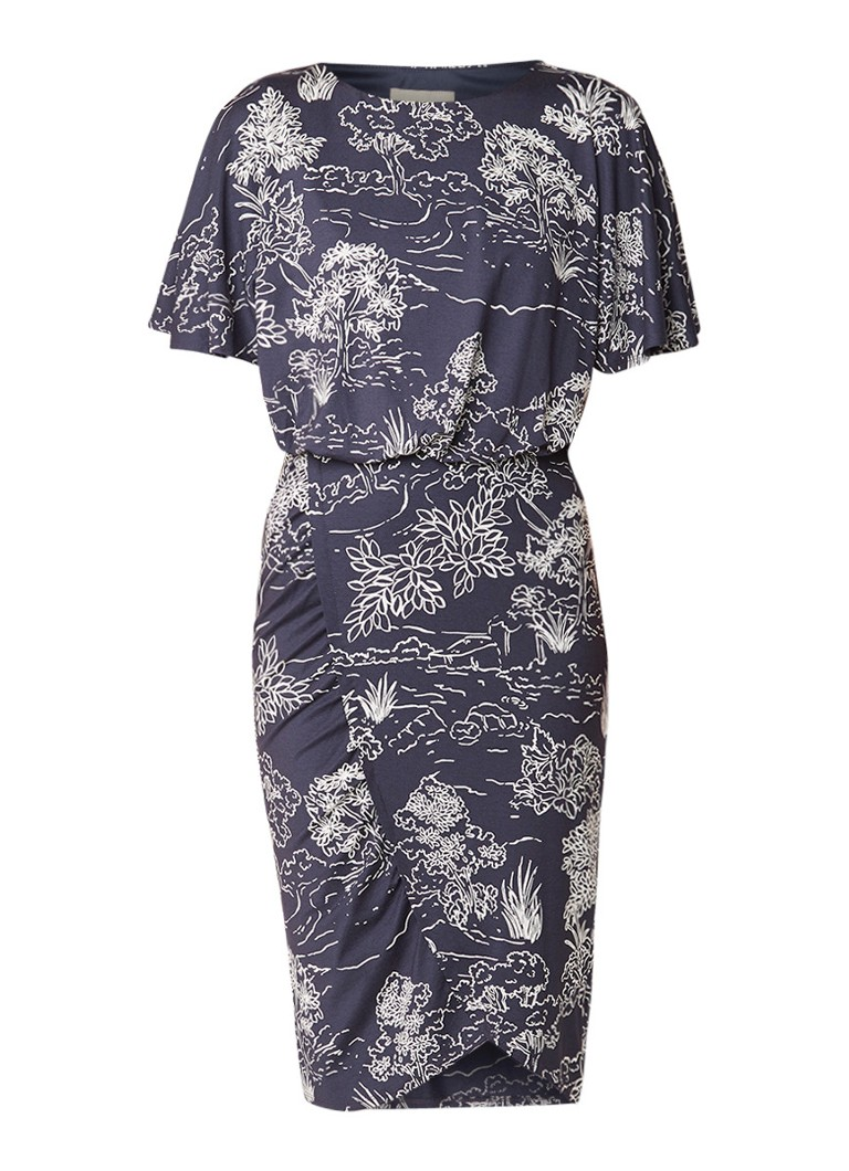 Phase Eight Ravine jurk met gesmockte taille en vleermuismouw in bloemendessin donkergrijs