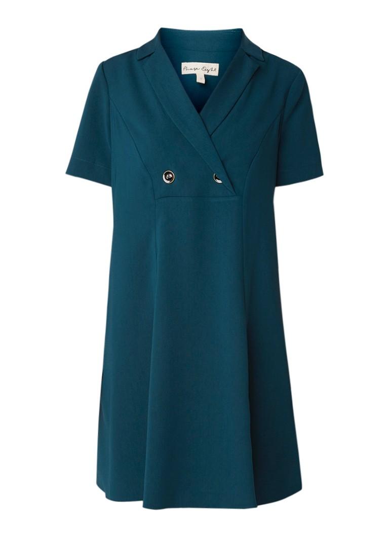 Phase Eight Annalesha midi-jurk van crêpe met sierknopen zeegroen