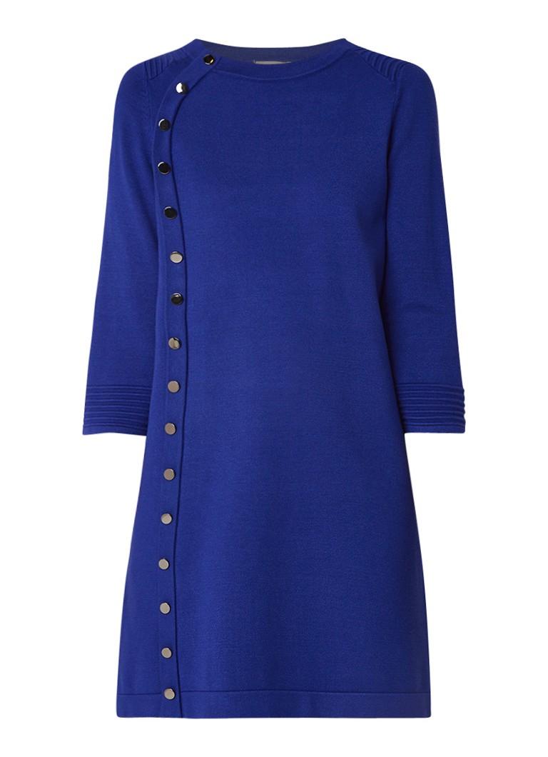 Phase Eight Bellatrix fijngebreide jurk met sierknopen kobaltblauw