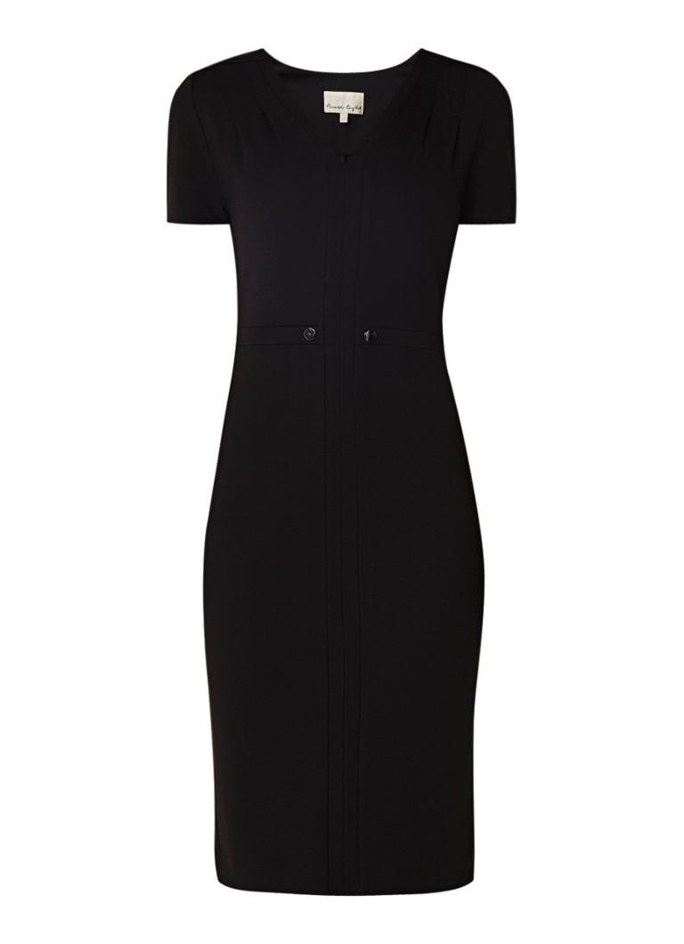 Phase Eight Romana kokerjurk van jersey met sierknopen zwart