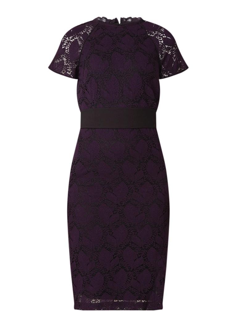 Phase Eight Henrietta midi-jurk van kant met strikceintuur paars