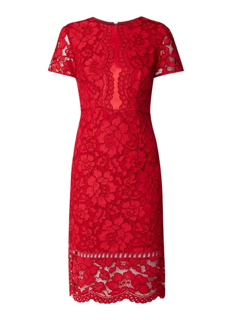 Phase Eight Darena midi-jurk van gebloemd guipure kant rood