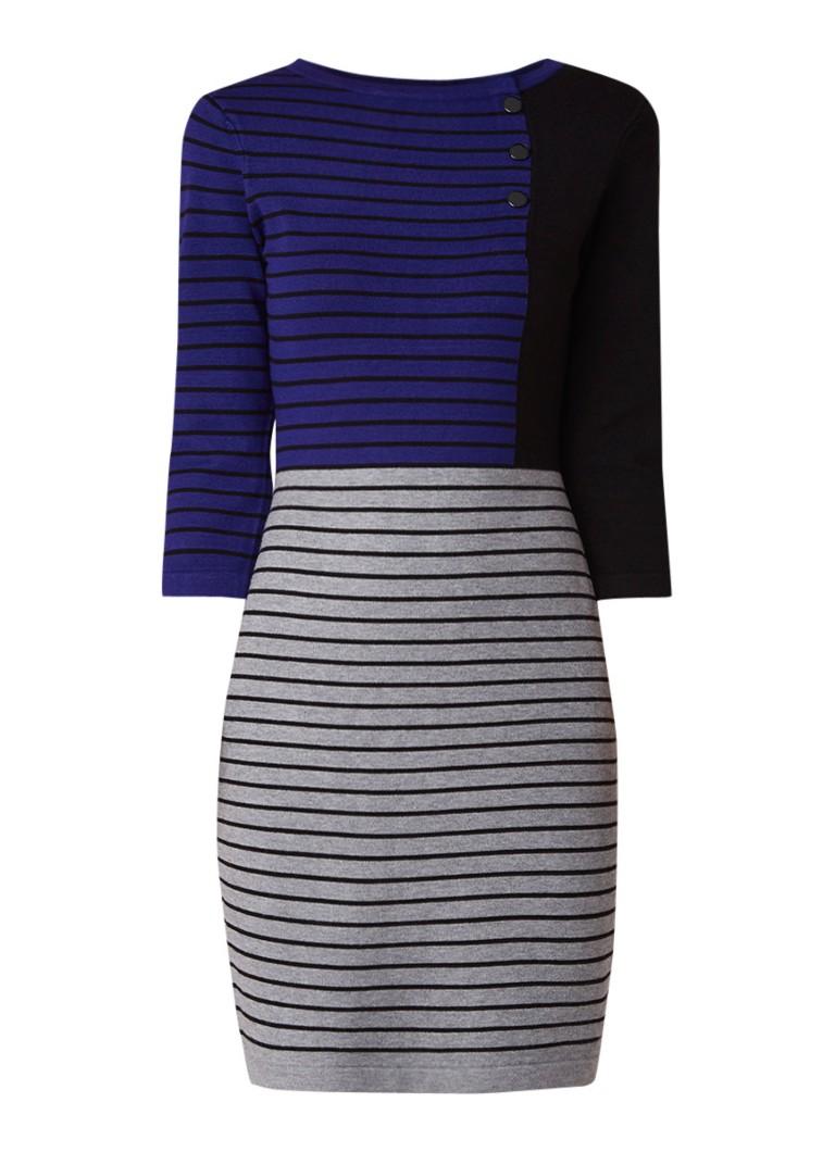 Phase Eight Odetta fijngebreide midi-jurk met streepdessin blauw