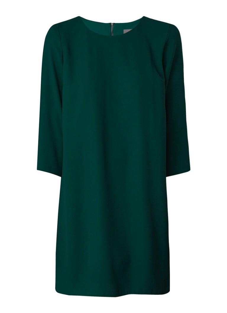 Phase Eight Pia loose fit midi-jurk van crêpe met geplisseerd achterpand flessengroen