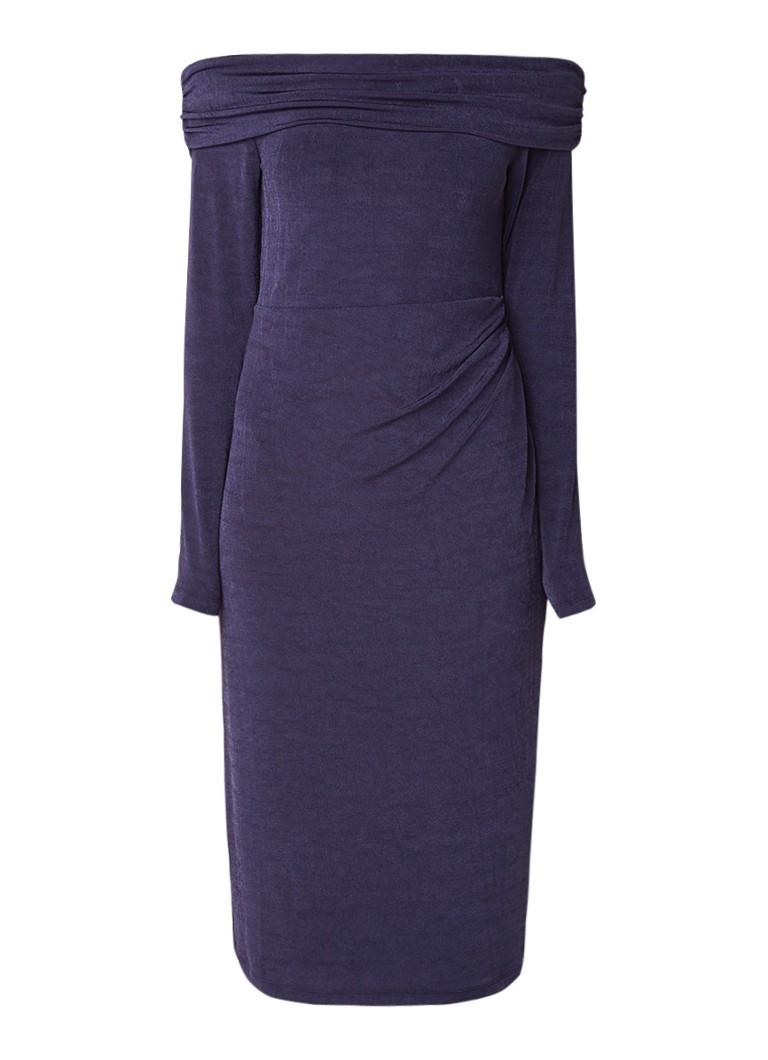 Phase Eight Bayley Bardot cold shoulder midi-jurk van stretchjersey donkerblauw