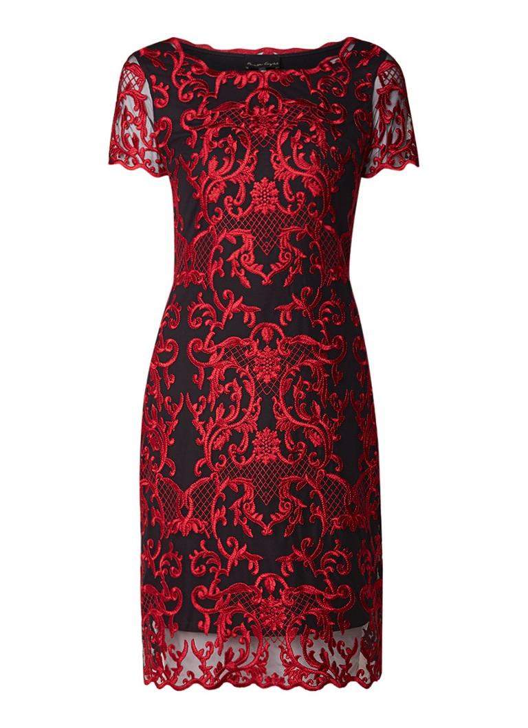 Phase Eight Tatiana midi-jurk met mesh en jacquard dessin donkerrood