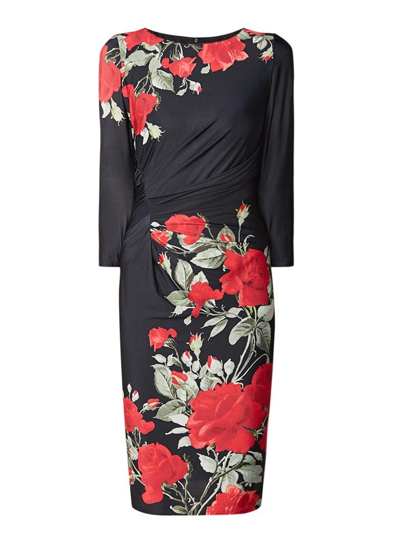 Phase Eight Grace midi-jurk met draperie en bloemendessin zwart