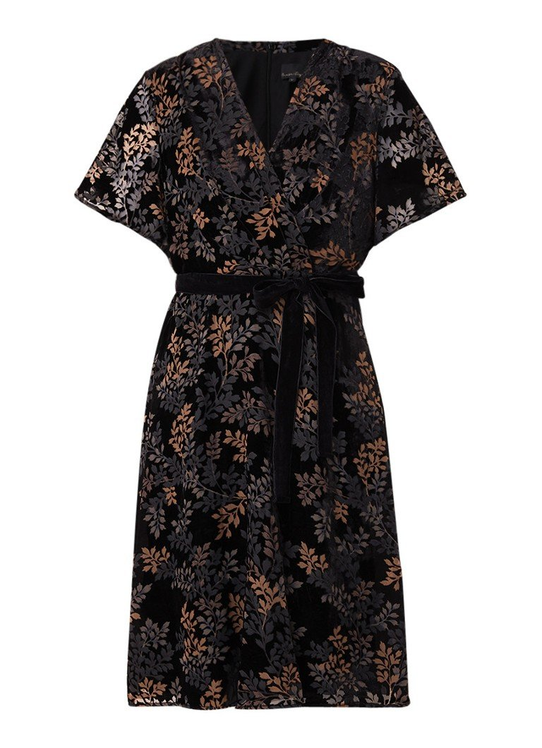 Phase Eight Raquel midi-jurk van fluweel met burn-out dessin zwart