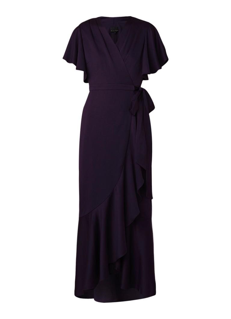 Phase Eight Angelina maxi-jurk met volant en overslag paars