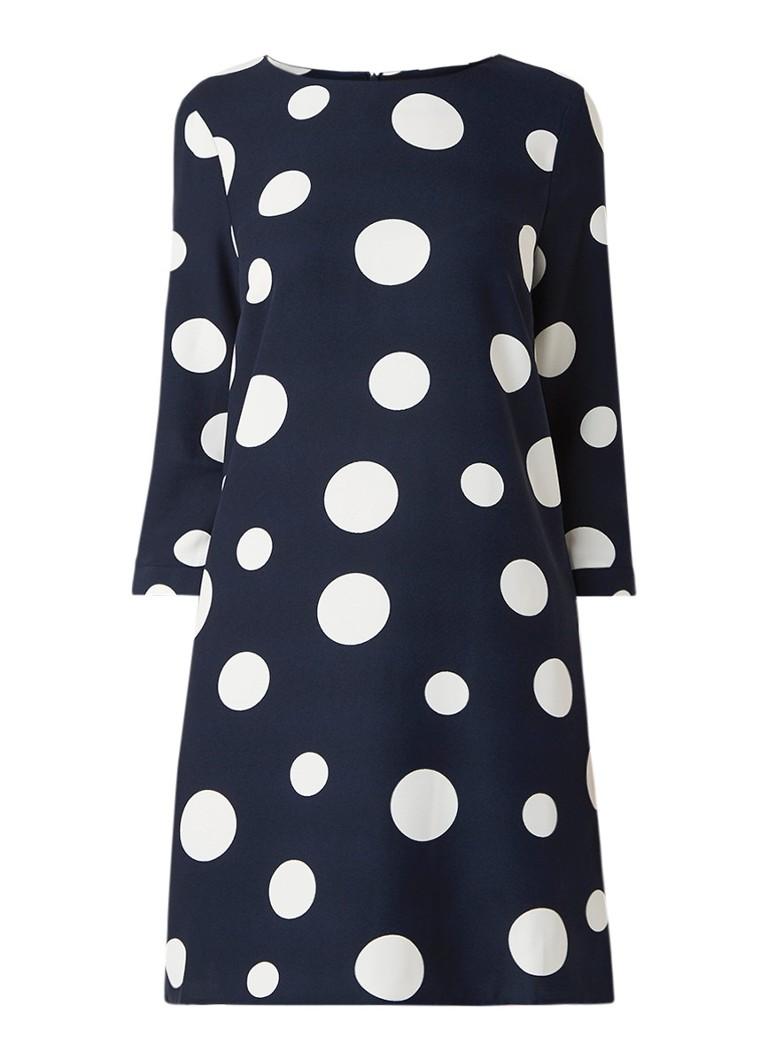 Phase Eight Nico loose fit midi-jurk van crêpe met stippendessin donkerblauw