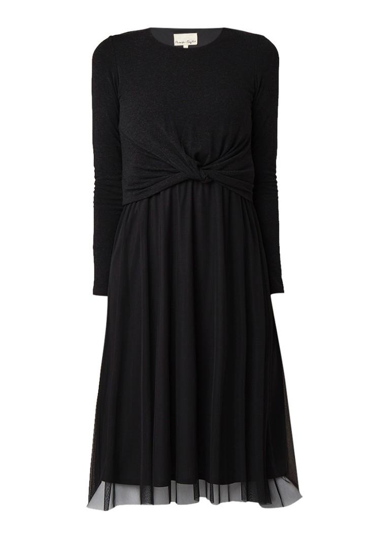 Phase Eight Talie midi-jurk met rok van mesh donkergrijs