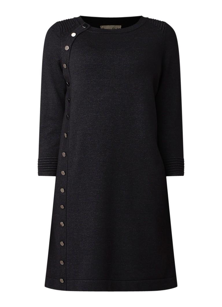 Phase Eight Bellatrix fijngebreide jurk met knoopdetails antraciet