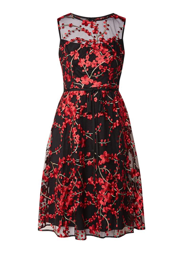 Phase Eight Sable midi-jurk met overlay van mesh en geborduurde bloemen zwart