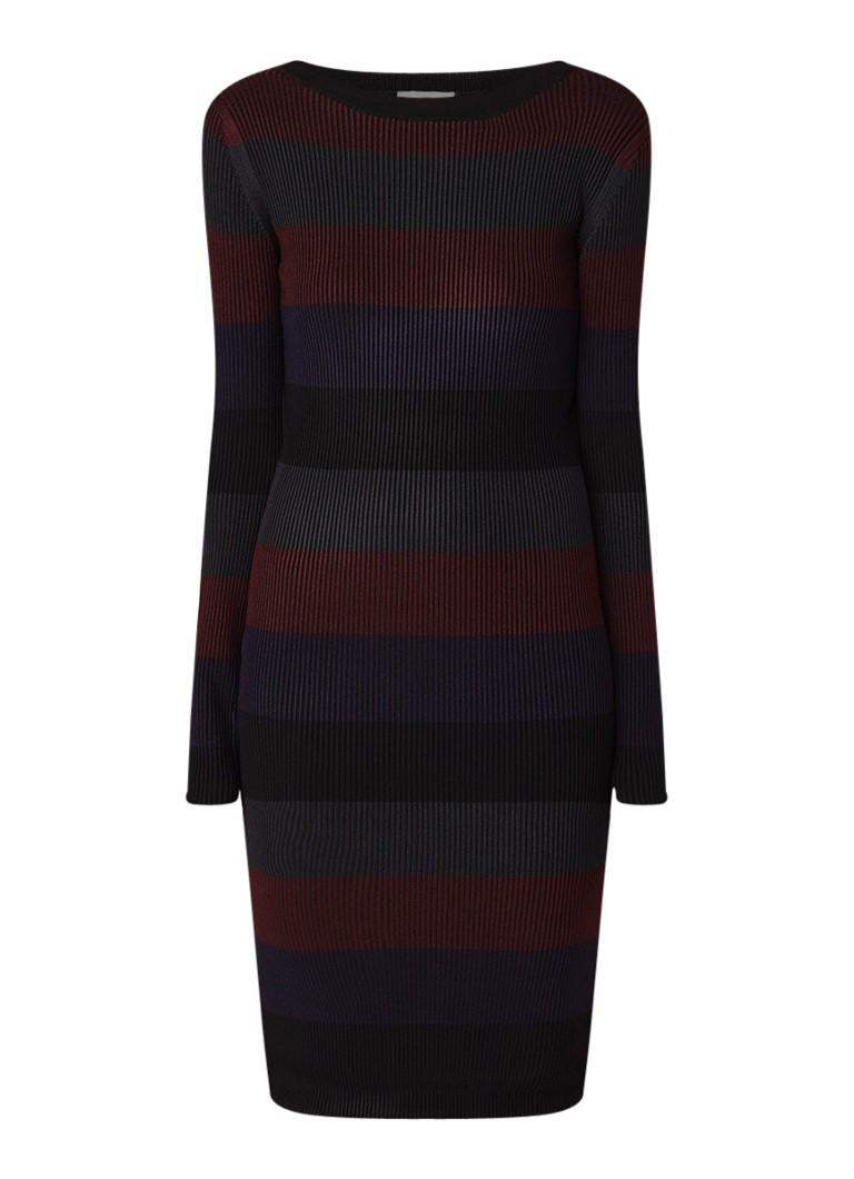 Phase Eight Sigrid ribgebreide midi-jurk met streepdessin donkerrood