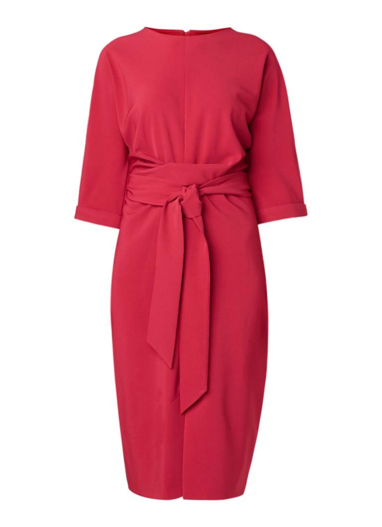 Phase Eight Sophia midi-jurk met strikceintuur en driekwartmouw fuchsia
