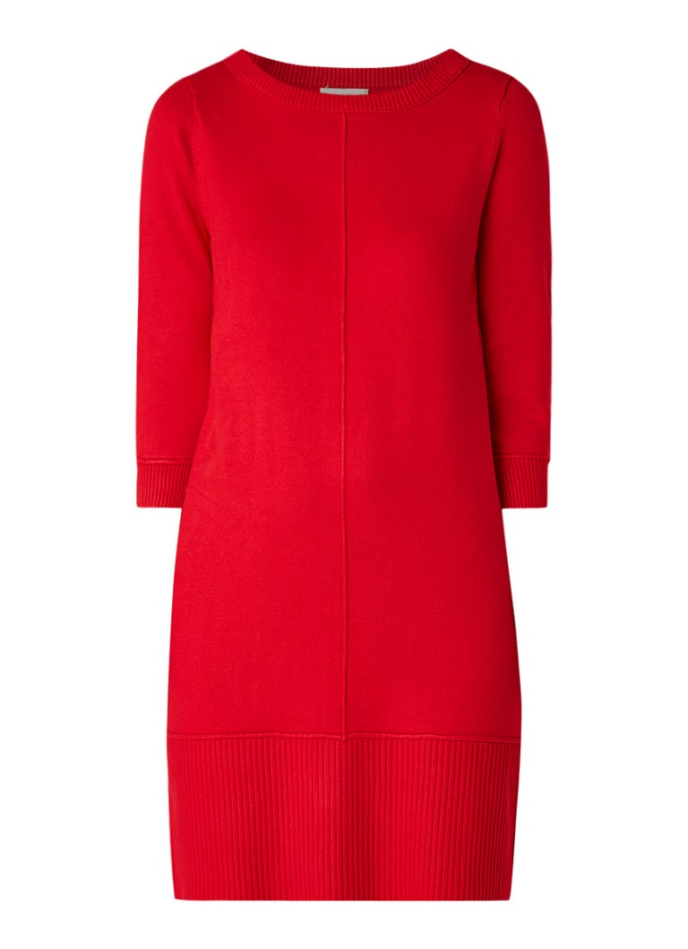 Phase Eight Shiloh fijngebreide midi-jurk met driekwart mouw rood
