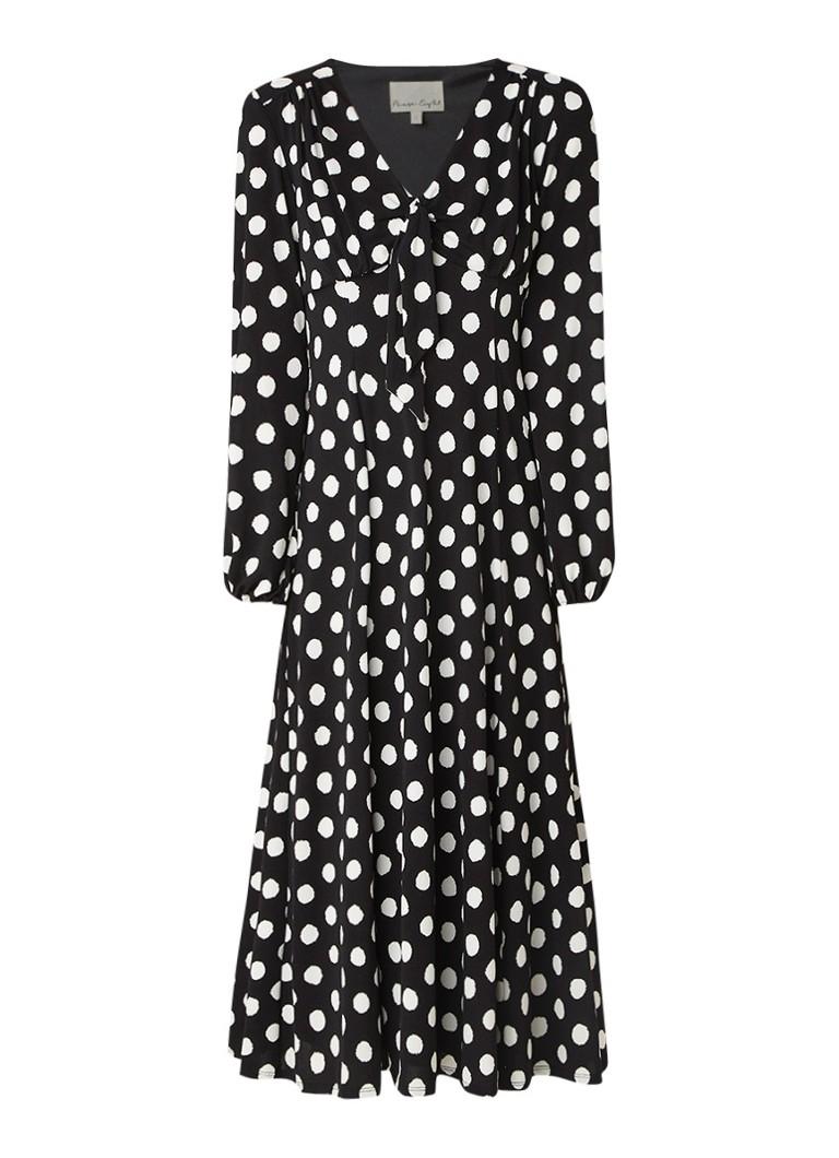 Phase Eight Siana gestipte midi-jurk van crêpe met stretch zwart