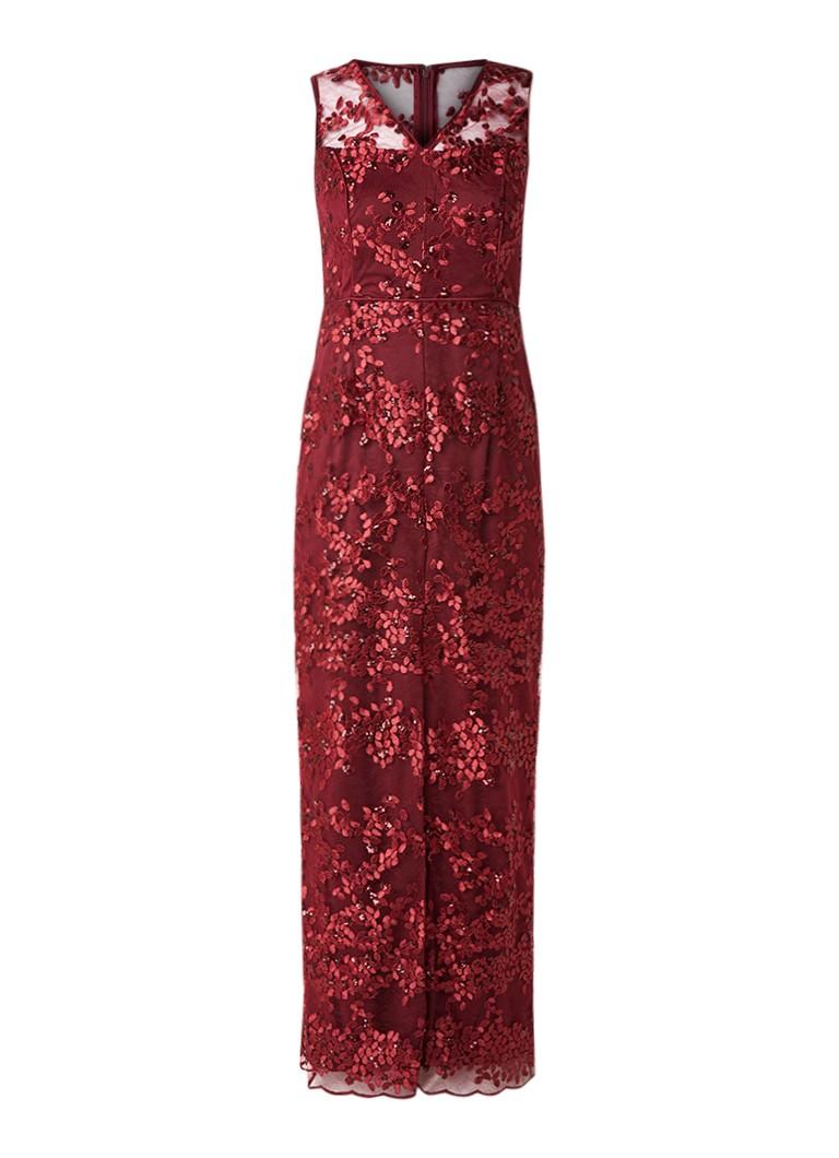 Phase Eight Jolene maxi-jurk van gebloemd kant met pailletten donkerrood
